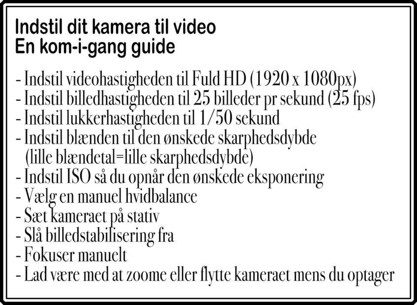 Lav video med dit spejlløse/spejlrefleks-kamera